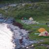 Tältläger på Onøya på Helgelandskusten