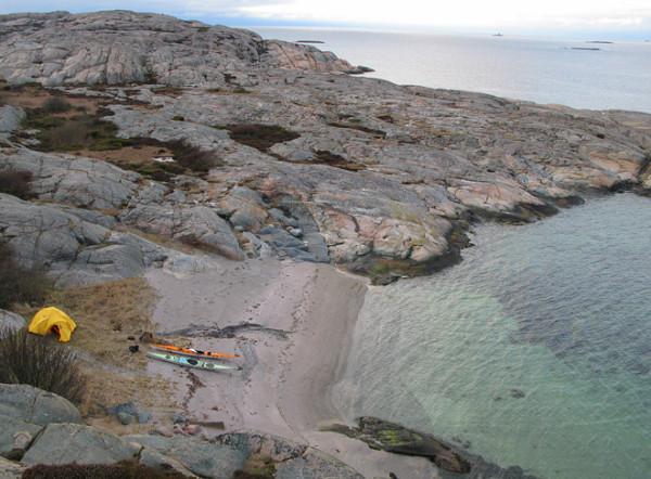 Lägerplatsen sedd uppifrån, vy norrut