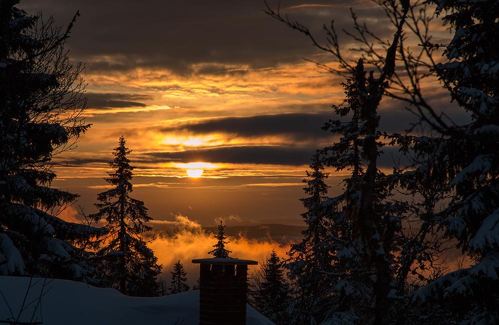 Solupgång från Stuga